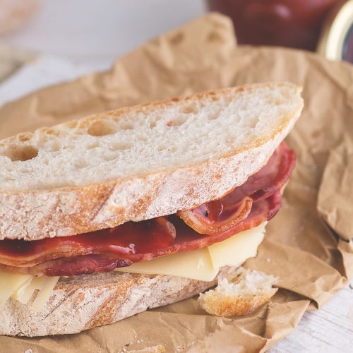 Bacon Sandwich, Gruyere cheese and Black Truffle Ketchup
