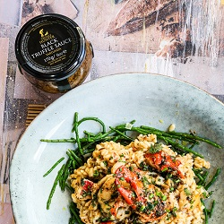 Lobster Risotto with Black Truffle Sauce