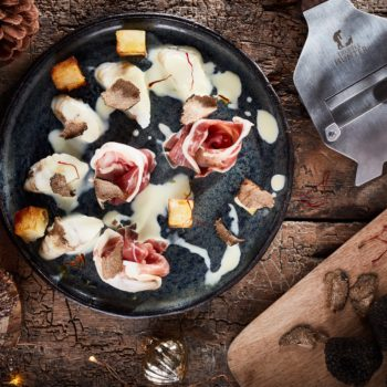 Monkfish, Palma Ham, Parmentier potatoes and Black Truffle and Saffron Nage